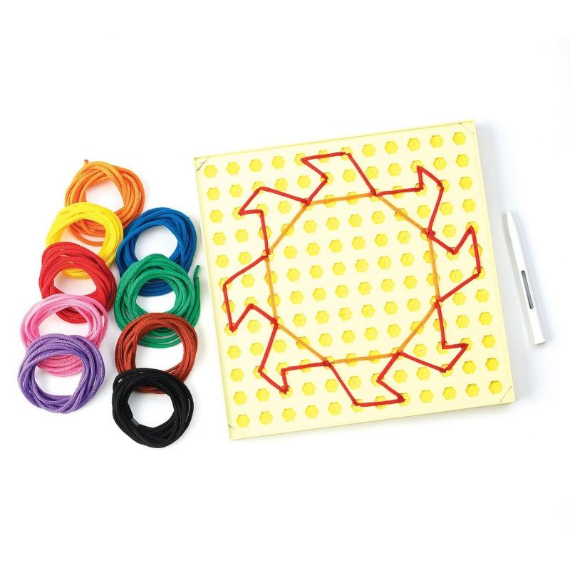 Desenam cu sfori, 18 sfori in 9 culori vibrante, 16 carduri plastifiate
