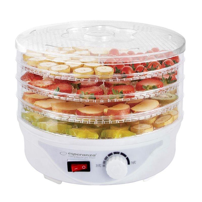 Deshidrator alimente Esperanza, 250 W, 5 tavi, 8 programe, Alb 2021 shopu.ro