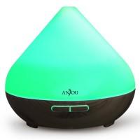 Difuzor aroma cu ultrasunete Anjou, 13 W, 300 ml, 30 ml/h, LED 7 culori, oprire automata, model wenge