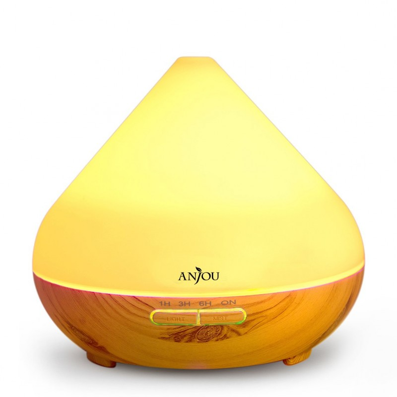 Difuzor aroma cu ultrasunete Anjou, 13 W, 300 ml, 30 ml/h, LED 7 culori, oprire automata, model lemn natur 2021 shopu.ro
