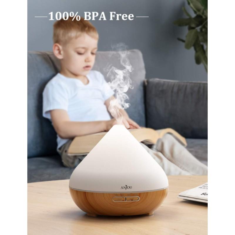 Difuzor aroma cu ultrasunete Anjou, 13 W, 300 ml, 30 ml/h, LED 7 culori, oprire automata, model lemn natur