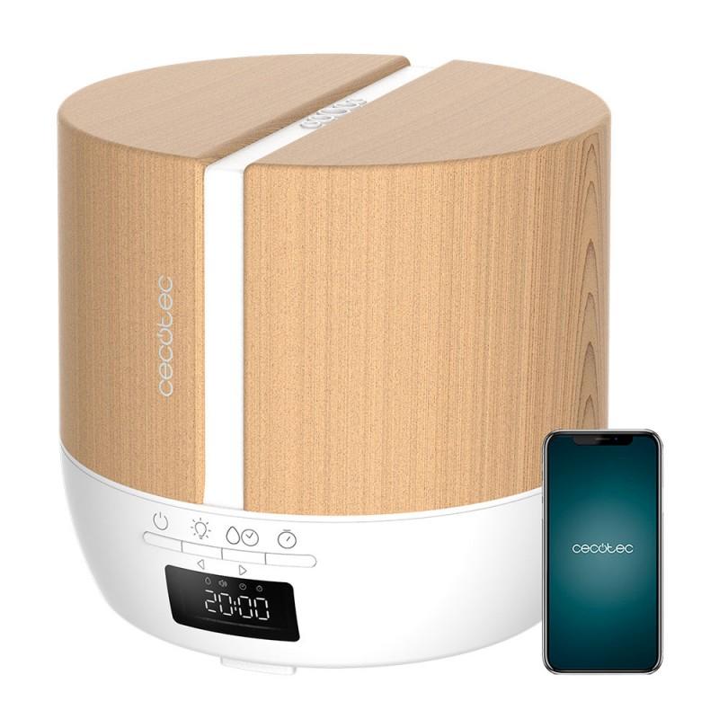 Difuzor aroma cu ultrasunete Smart Cecotec PureAroma, 500 ml, 3 trepte, 7 x LED, control Smartphone, boxa incorporata, Stejar 2021 shopu.ro