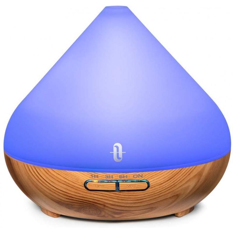 Difuzor aroma cu ultrasunete TaoTronics, 13 W, 300 ml, 30 ml/h, LED 7 culori, oprire automata, model lemn de nuc