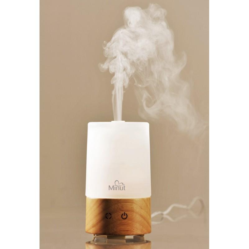 Difuzor arome si cromoterapie Minut, lumina in 7 culori soft cu LED, 85 ml