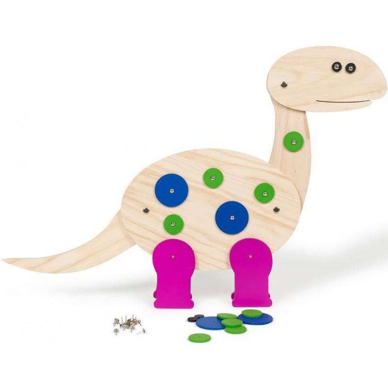 Dinozaur de construit Buitenspeel, lemn natur si colorat 2021 shopu.ro