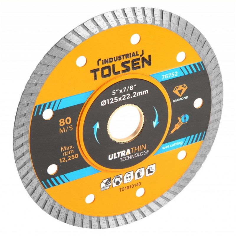 Disc diamantat ultra subtire Tolsen, 115 x 22.2 x 0.8 mm, taiere umeda/uscata, uz industrial shopu.ro