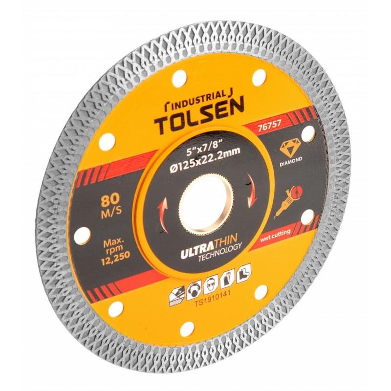 Disc diamantat ultra subtire Tolsen, 125 x 22.2 x 1 mm, taiere umeda/uscata, uz industrial 2021 shopu.ro