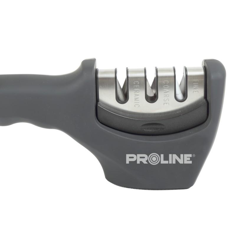 Dispozitiv pentru ascutit cutite Proline, metal, maner plastic, Gri
