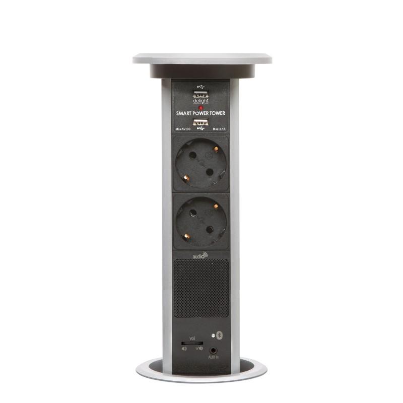 Distribuitor incorporat in mobila Delight, 2 prize, 2 m, Bluetooth, 2 x USB, LED, 2 x jack 3.5 mm, difuzor, actionare motorizata, Argintiu shopu.ro