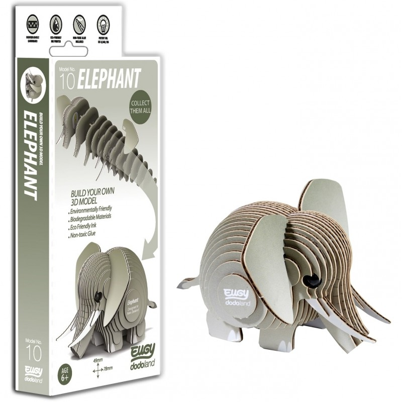 Animale 3D Eugy Elefant Brainstorm Toys, carton biodegradabil, 6 ani+ 2021 shopu.ro