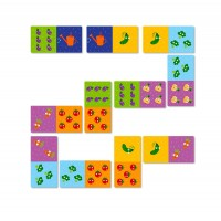 Joc Domino legume Dodo, 28 piese, 4.6 x 9 cm, carton, 3 ani+