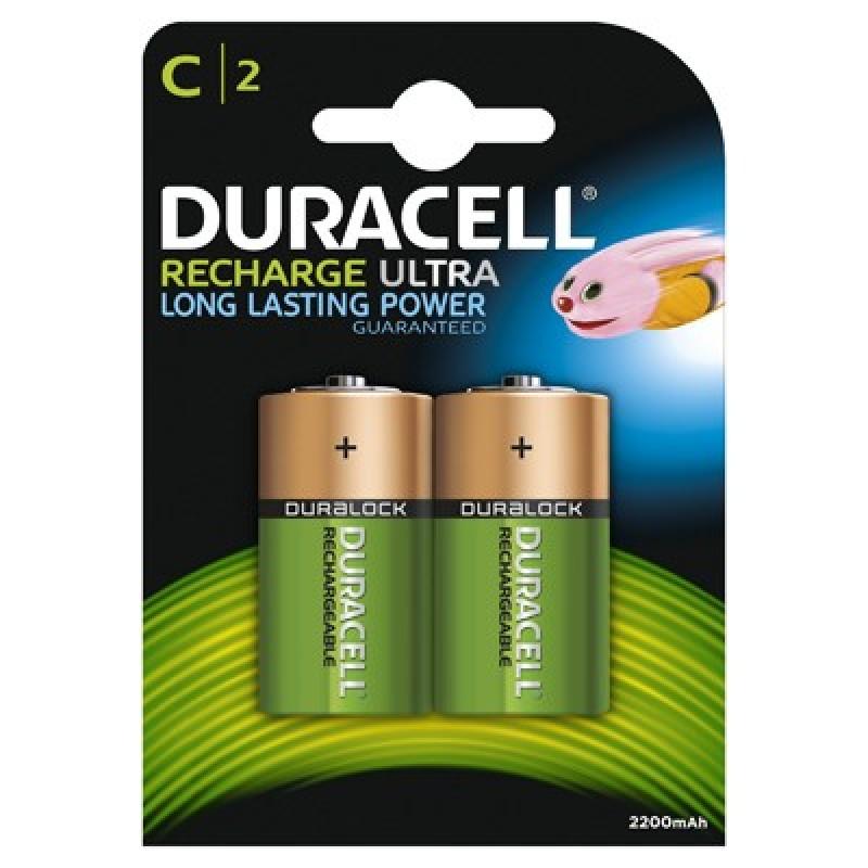 Set 2 acumulatori Duracell, tip C, 2200 mAh
