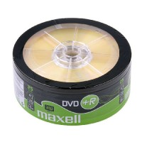 Pachet DVD+R Maxell, capacitate 4.7 GB, viteza scriere 16X, 25 bucati