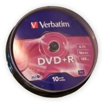 Pachet DVD+R Verbatim, capacitate 4.7 GB, viteza scriere 16X, 10 bucati