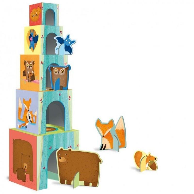 Set educativ cuburi/carte Animalutele si puii lor Sassi, 10 piese, 10 pagini, 2-6 ani 2021 shopu.ro