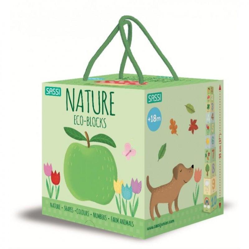 Set educativ cuburi Natura umerele Sassi, 95 cm, 10 piese, 10 pagini, carte inclusa, 18 luni+ 2021 shopu.ro