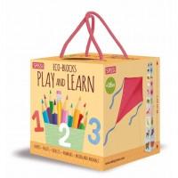 Set educativ cuburi/carte Ne jucam si invatam Sassi, 95 cm, 10 pagini, 18 luni+