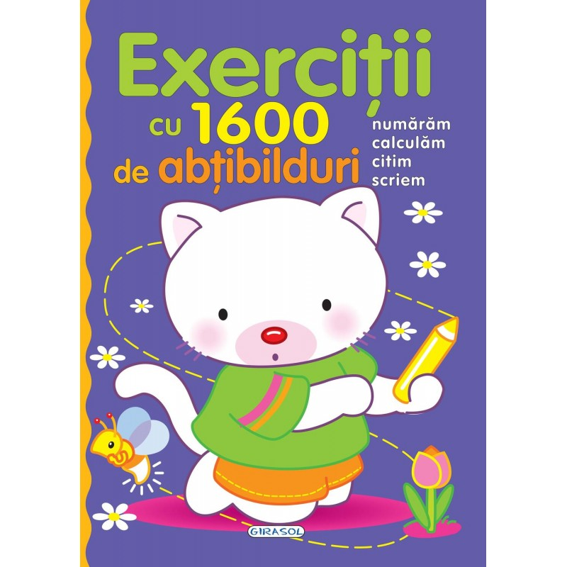 Carte pentru copii Exercitii cu 1600 de abtibilduri Girasol, 5 ani+ 2021 shopu.ro