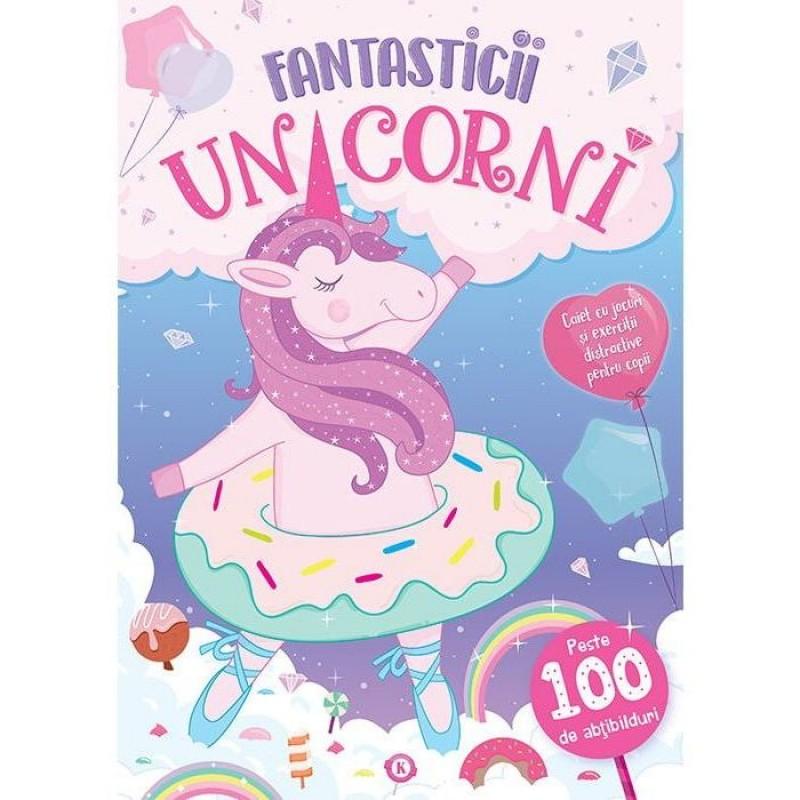 Carte de activitati Fantasticii Unicorni Editura Kreativ, 16 pagini, abtibilduri incluse, 3-10 ani 2021 shopu.ro