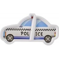 Farfurie melamina Lulabi, forma masina politie, Alb/Albastru