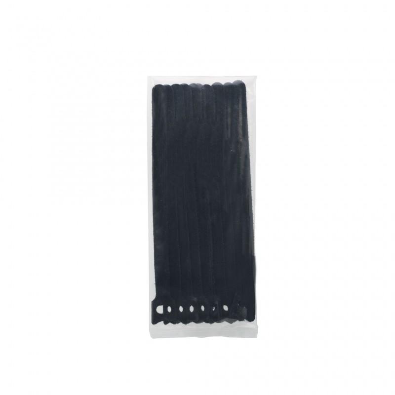 Set 10 fasete cu scai Handy, 200 x 12 mm, textil, Negru 2021 shopu.ro