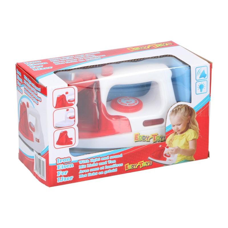 Jucarie fier de calcat Eddy Toys, plastic, rezervor detasabil, 3 ani+, Rosu/Alb