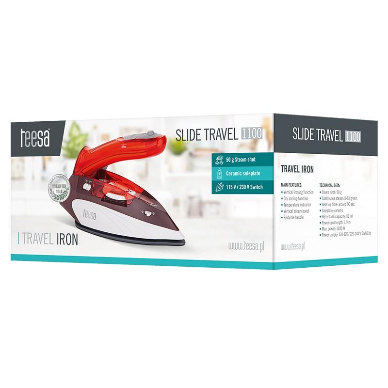 Fier de calcat pentru voiaj Travel Slide Teesa, 1100 W, 80 ml, maner pliabil