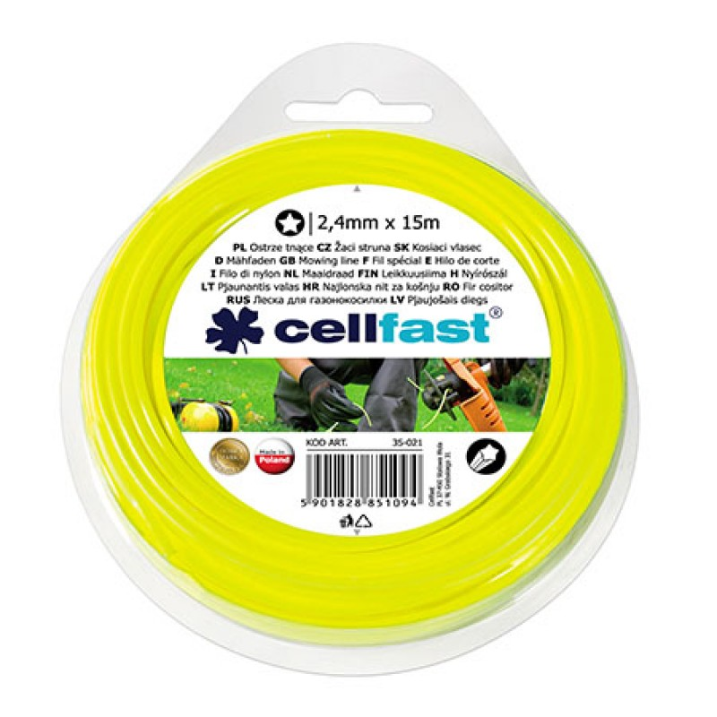 Fir motocoasa Cellfast, diametru 2.4 mm, lungime 15 m, profil stelat shopu.ro