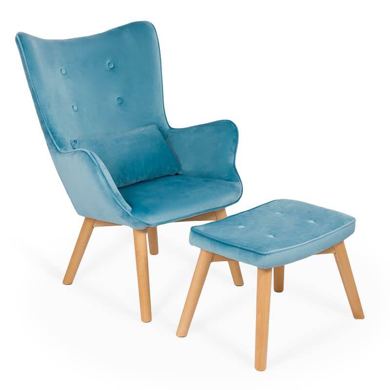Fotoliu otoman cu suport picioare, inatime 98 cm, tapiterie catifea, pernuta inclusa, Bleu 2021 shopu.ro