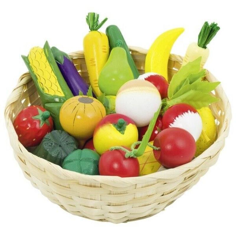Set fructe in cosulet Goki, 21 cm, 23 piese, lemn, 3 ani+, Multicolor 2021 shopu.ro