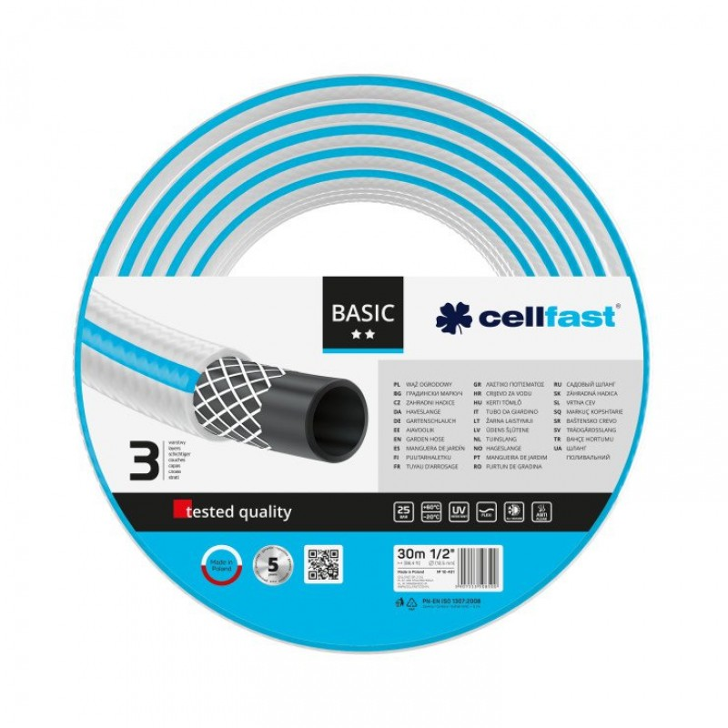 Furtun pentru gradina Cellfast Basic, 3 straturi, 30 m, 25 bar, 1/2 inch, protectie UV, flexibil, Albastru 2021 shopu.ro