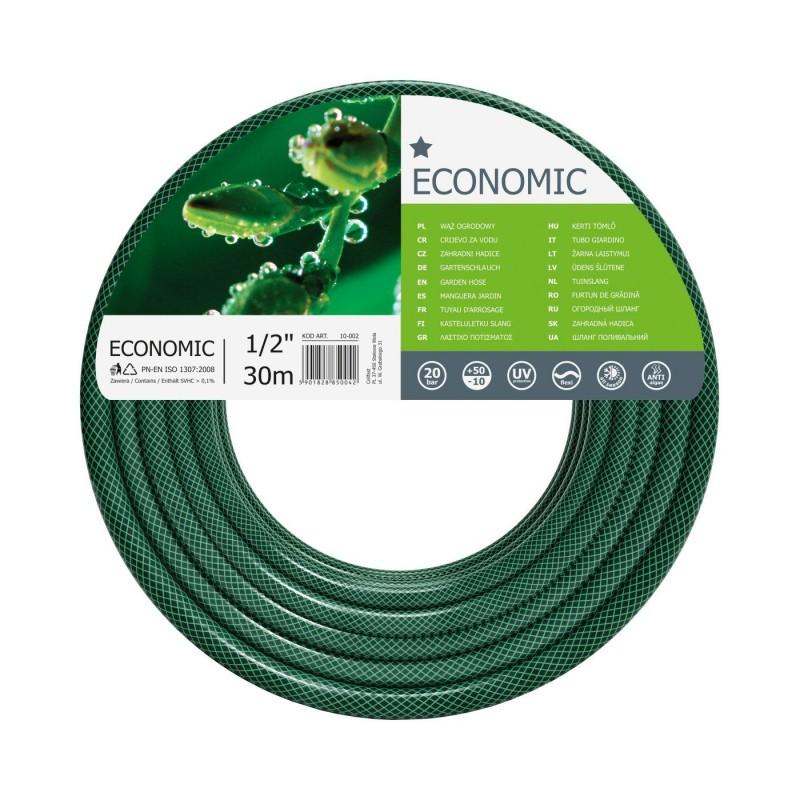 Furtun pentru gradina Cellfast Economic, 30 m, 20 bar, 1/2 inch, flexibil, 3 straturi armatura, protectie UV, Verde shopu.ro