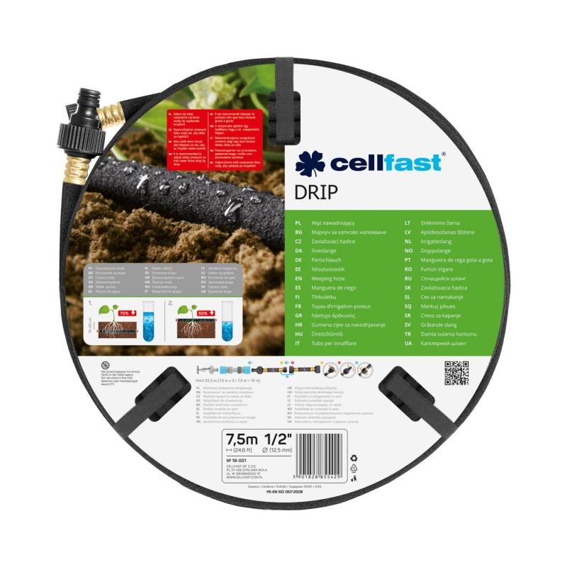 Furtun pentru irigare Cellfast Drip, 1/2 inch, 7.5 m, 3 bar, poros, presiune scazuta, Negru 2021 shopu.ro
