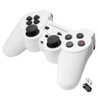 Gamepad wireless cu vibratii Esperanza Gladiator, USB 2.0, design ergonomic, Alb