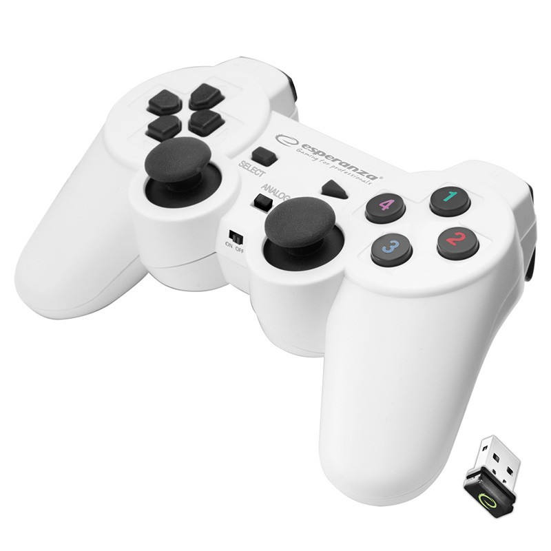 Gamepad wireless cu vibratii Esperanza Gladiator, USB 2.0, design ergonomic, Alb 2021 shopu.ro