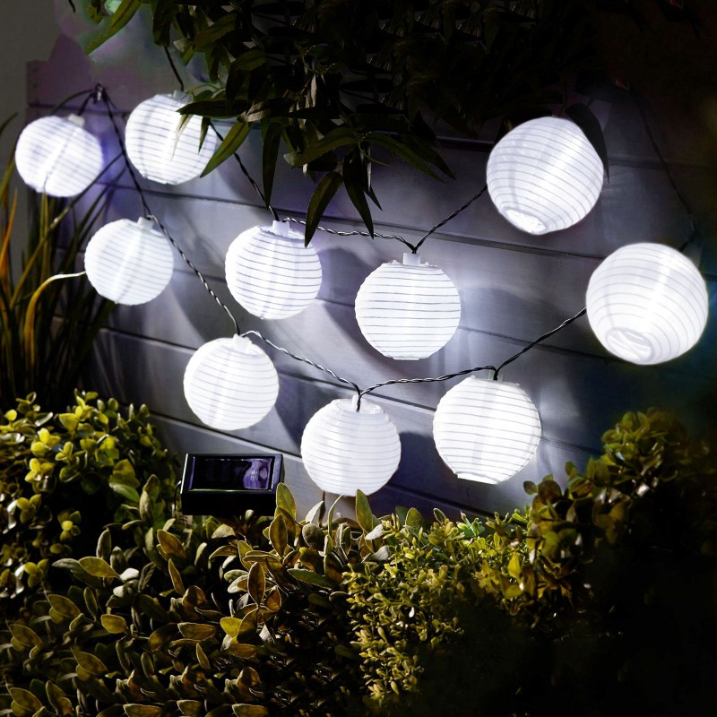 Sir lampioane Garden of Eden, 10 LED-uri, 3.7 m, panou solar, 300 mAh, pliabile, intrerupator, IP44 shopu.ro