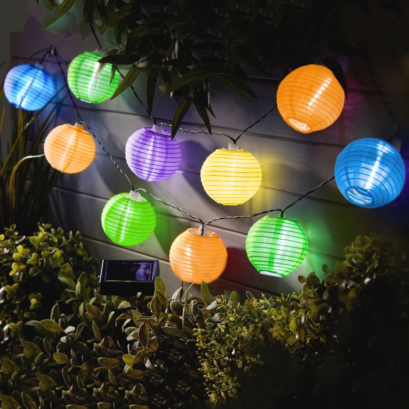 Sir lampioane Garden of Eden, 10 LED-uri, 6000 K, 3.7 m, panou solar, 300 mAh, pliabile, intrerupator, IP44 shopu.ro