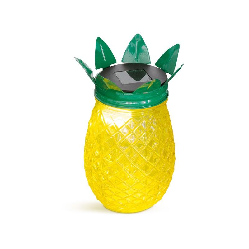 Garden of Eden lampa solara, LED, 170 x 90 mm, aprindere automata, fara cablare, sticla, model ananas, Galben shopu.ro