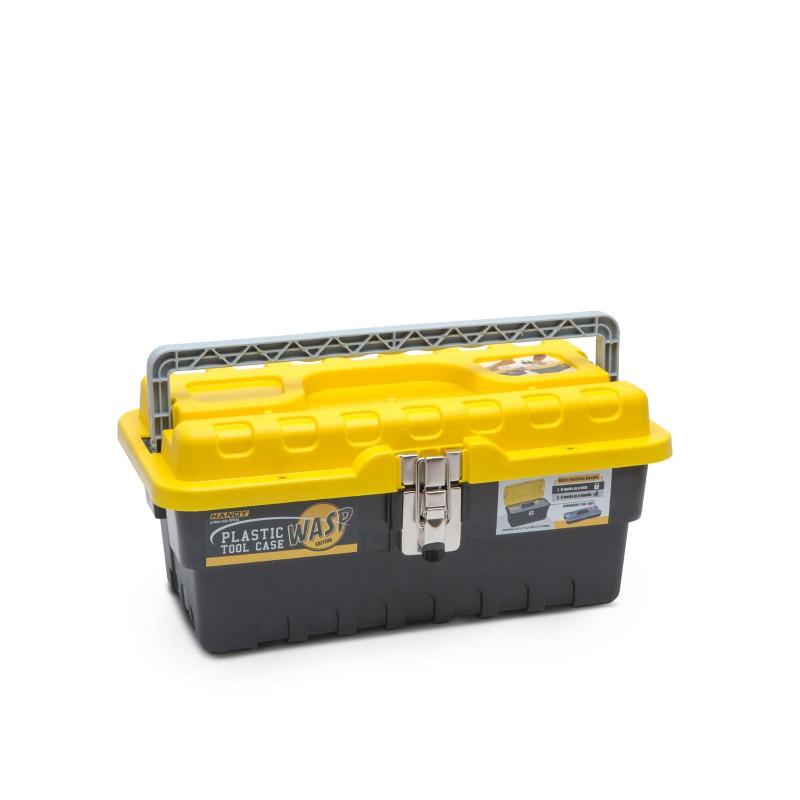 Geanta pentru scule Handy, 395 x 177 x 210 mm, plastic, 7 compartimente, Galben/Negru 2021 shopu.ro