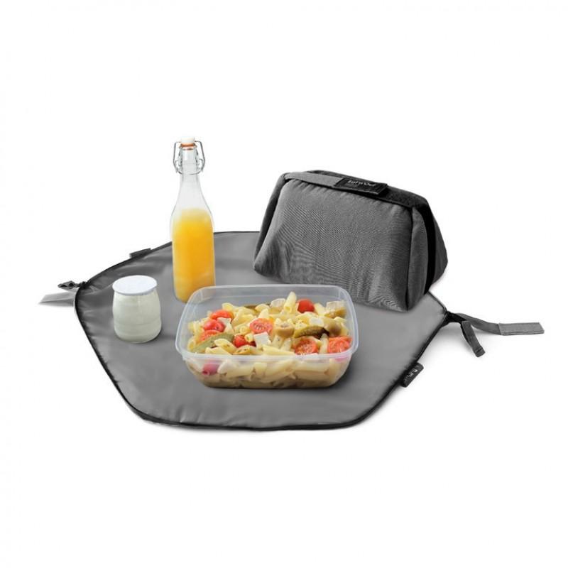 Geanta pliabila pentru pranz si servet de masa Eat'n'Out Mini Eco, 2 in 1, Negru 2021 shopu.ro
