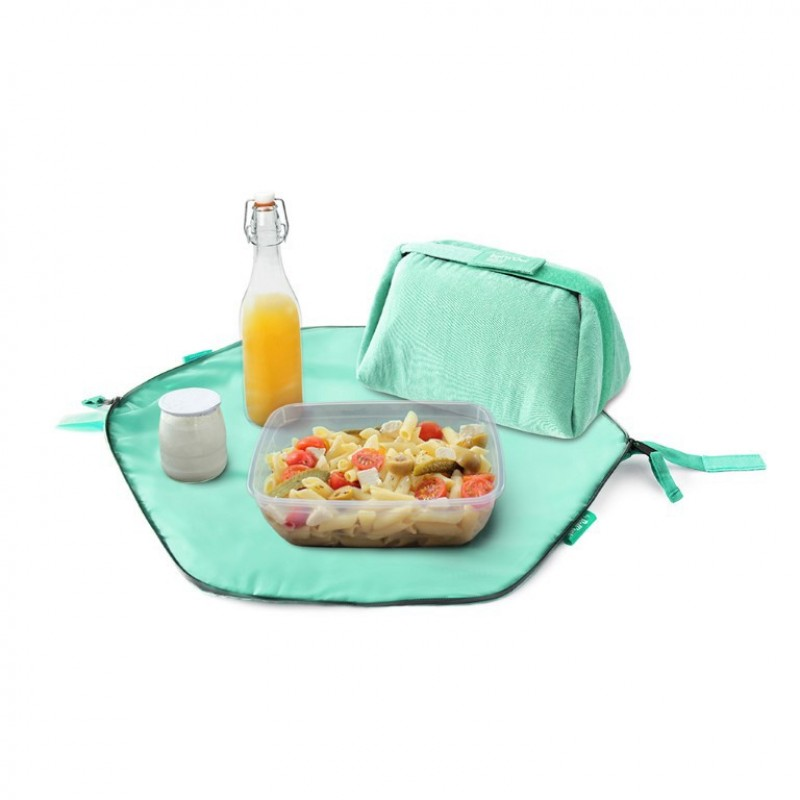 Geanta pliabila pentru pranz si servet de masa Eat'n'Out Mini Eco, 2 in 1, Verde