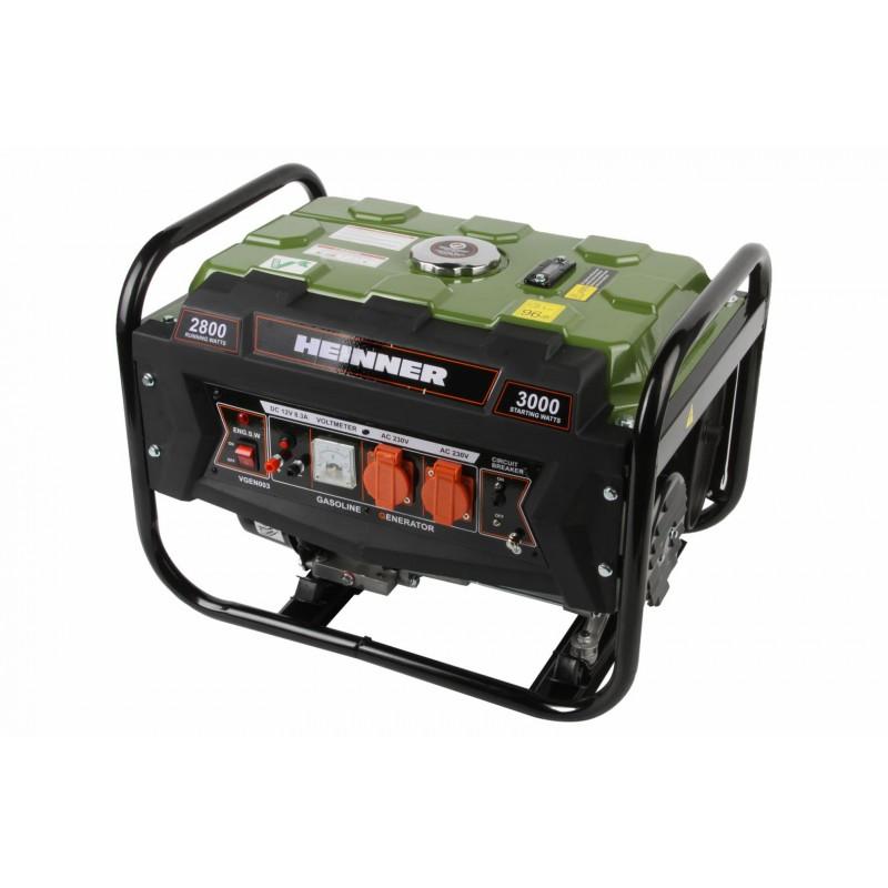 Generator curent electric Heinner, 2800 W, 4 timpi, 210 CC, 7 CP, 96 dB, 12 L, regulator voltaj, cadru metalic, benzina, Verde shopu.ro