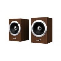 Sistem audio Genius, 6 W, jack 3.5 mm, lemn, 102 x 140 x 102 mm, USB, Maro