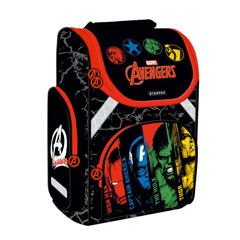 Ghiozdan Ergonomic Avengers Starpak, 37 x 27 x 14.5 cm, negru