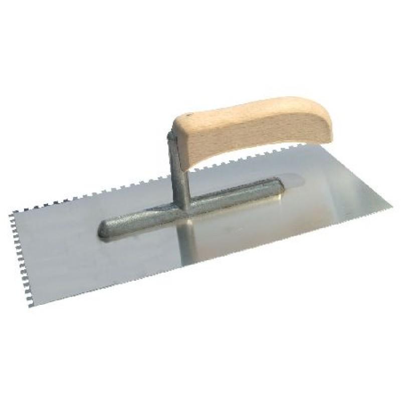 Gletiera inox dintata Polonia, 270 x 130/8 mm, maner lemn 2021 shopu.ro