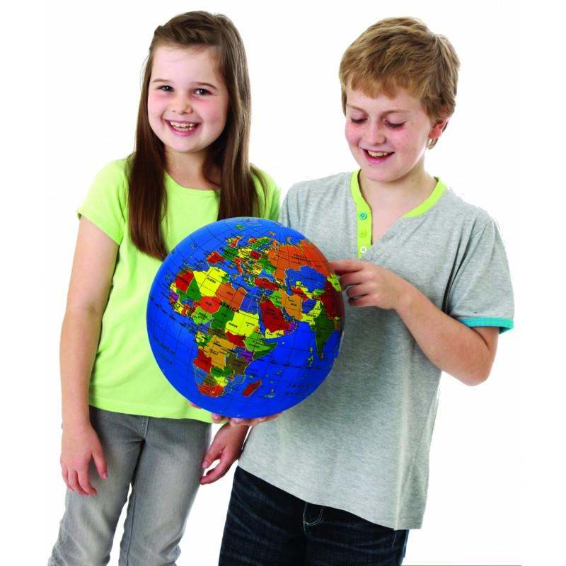 Glob pamantesc gonflabil cu harta lumii Brainstorm Toys, 30 cm, Multicolor