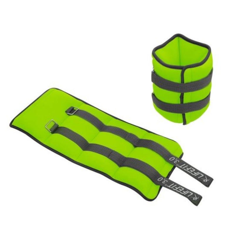 Set greutati incheietura/glezna Lifefit, 2 x 3 kg, nisip, invelis neopren, Verde 2021 shopu.ro