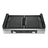 Grill electric Heinner, 1800 W, sistem filtrare fum, 2 placi detasabile/reversibile, termostat individual, panou frontal inox, Argintiu/Negru