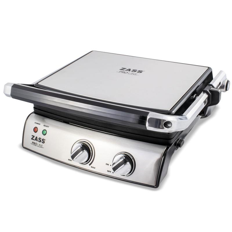 Grill electric Zass Grill & Panini Chef, 2000 W, placi detasbile, dimensiuni placi 29-23 cm, deschidere 180 grade 2021 shopu.ro