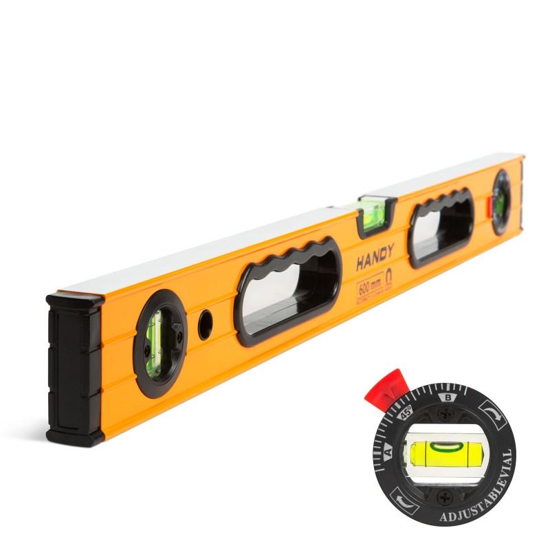 Nivela cu boloboc rotativ Handy, 600 x 60 x 25 mm, aluminiu, 3 bule shopu.ro